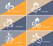 Inbjudanaffärskort eller rengöringsdukbaner med abstrakta blommasymboler vektor illustrationer