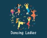 Inbjudanaffischen i en nattklubb Gulligt rengöringsdukbaner som annonserar dansklubban Flickor som dansar till musiken joyful sin royaltyfri illustrationer