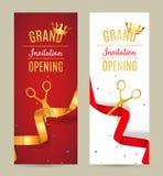 Inbjudanbaner för storslagen öppning Guld- och röd händelse för bandsnittceremoni Berömkort för storslagen öppning royaltyfri illustrationer