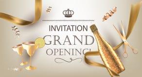 Inbjudanbaner för storslagen öppning med guld- objekt stock illustrationer