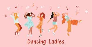 Inbjudanbanerdans för kvinnor Flickor dansar och flyttar sig till musiken på festivalen eller diskot joyful sinnesrörelser Vektor royaltyfri illustrationer