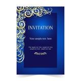 Inbjudankort, bröllopkort med dekorativt på blå bakgrund vektor illustrationer