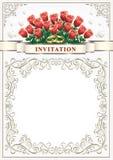 Inbjudankort för ett bröllop med en bukett av rosor Arkivfoton