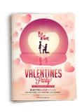 Inbjudankort för valentin dagberöm Arkivbilder