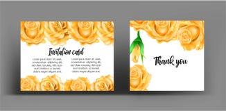 Inbjudankort med apelsinrosen Bruk för att gifta sig som hälsar, tha Arkivbild
