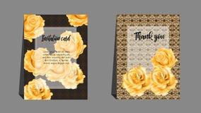 Inbjudankort med apelsinrosen Bruk för att gifta sig som hälsar, tha Arkivfoton