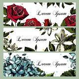 Inbjudankort med bilder av blommor Steg Arkivbilder