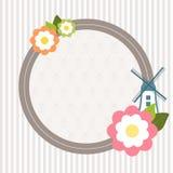 Inbjudankort med blommor, väderkvarnen och band Royaltyfri Bild