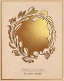 Inbjudankort med den guld- blom- prydnaden mall för hälsning för ram för kortdesign Arkivbild