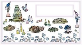 Inbjudankort med en festlig tabell med mat, höna, pizza c royaltyfri illustrationer