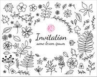 Inbjudankort med hand drog blom- beståndsdelar Royaltyfria Foton