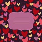 Inbjudankort med hjärta på vändblåttbakgrund Royaltyfri Bild