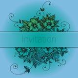 Inbjudankort med klotterblommor Arkivbild