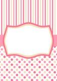 Inbjudankort med rosa prickar och band Arkivbilder