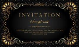Inbjudankortdesign - svart och guld- tappningstil för lyx royaltyfri illustrationer
