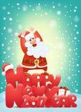 Inbjudankortet 2017 för det lyckliga nya året med det hårda Santa Claus teckenet som gör, vaggar tecknet Royaltyfria Bilder