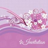 Inbjudankort med rosa färg- och vitblommor Royaltyfria Foton