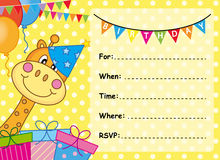 Inbjudankortfödelsedag Arkivbild