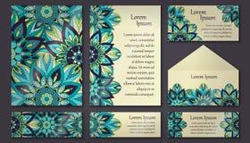 Inbjudankortsamling dekorativ elementtappning Islam arabiska, indier, ottomanmotiv vektor illustrationer