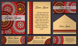 Inbjudankortsamling Etniska dekorativa beståndsdelar Islam arabiska, indier, ottomanmotiv royaltyfri illustrationer