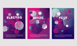 Inbjudanmallar för nattklubb festar med dynamiska former Dansmusikfestivalen med abstrakt geometriskt slätar linjen stock illustrationer