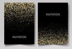 Inbjudanmallen med guld blänker konfettibakgrund Festlig hälsningkortdesign för händelse stock illustrationer