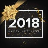 Inbjudanvektor 2018 för lyckligt nytt år kortjul som greeting Modern affisch för nytt år, reklambladmalldesign festival Arkivfoto