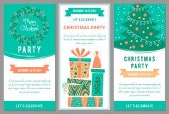 Inbjudningar för julparti i tecknad filmstil Arkivbild