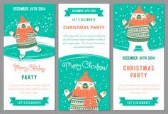 Inbjudningar för julparti i tecknad filmstil Fotografering för Bildbyråer