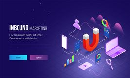 Inbound Marketing based isometric design with magnet as product. And other elements are different advertising ways to connect customer or user. Responsive royalty free illustration
