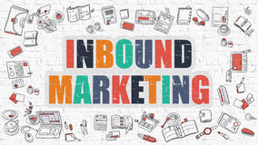 Inbound Marketing Concept. Multicolor on White Brickwall. Stock Image