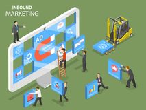 Inbound marketing flat isometric vector concept. Royalty Free Stock Images
