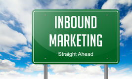 Inbound Marketing on Highway Signpost. Highway Signpost with Inbound Marketing wording on Sky Background royalty free stock photo