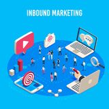 Inbound marketing isometric. Online mass market ads, business target sales ad and offline sale advancement vector vector illustration