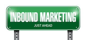 Inbound marketing street sign illustration Royalty Free Stock Images