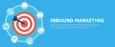 Inbound marketing. Target with arrow and icons tools. Vector flat illustration Royalty Free Stock Images