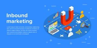 Inbound marketing vector business illustration in isometric design. Online or permission marketing background. vector illustration