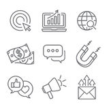 Inbound Marketing Vector Icons with growth, roi, call to action, seo, lead conversion, social media, attract, brand engagement, p. Romoters, campaign, smm royalty free illustration