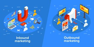 Inbound and outbound marketing vector business illustration in i. Sometric design. Online and offline or interruption and permission marketing background stock illustration