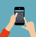 Inbox邮件平的概念传染媒介例证 免版税库存图片
