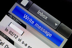 Inbox. Of a mobile phone, text messaging royalty free stock photo