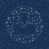 Inbox circled network symbol. Alluring constellation style symbol. Grand network style. Modern design. Inbox circled symbol for infographics or presentation Stock Photo