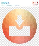 Inbox circled polygonal symbol. Appealing mosaic style symbol. posh low poly style. Modern design. inbox circled icon for infographics or presentation Stock Photography