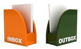 Inbox e outbox, isolados no branco, trajeto de grampeamento Fotografia de Stock Royalty Free