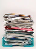 Inbox files and papers documents. Full inbox with files and papers showing too much work for workaholic royalty free stock photo