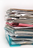 Inbox files and papers documents. Full inbox with files and papers showing too much work for workaholic stock photo