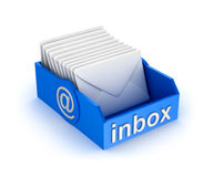 Inbox mail icon with letters.  on white. Inbox mail icon with letters. 3d image  on white Royalty Free Stock Photos