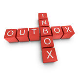 Inbox and outbox 3D crossword on white background Royalty Free Stock Photo