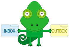 Inbox and outbox. An illustration of a chameleon holding two folders with the words inbox and outbox Royalty Free Stock Images