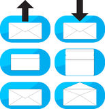 Inbox, outgoing emails icon set Stock Images